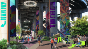 A rendering of the proposed addition to the Shockoe neighborhood, a linear park underneath I-95.