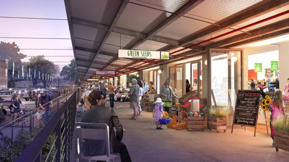 A rendering of the proposed outdoor market space, included in the Draft Shockoe Small Area Plan.