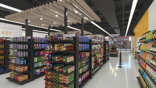 grocery store shelves in Ram City Market, coming soon to Richmond