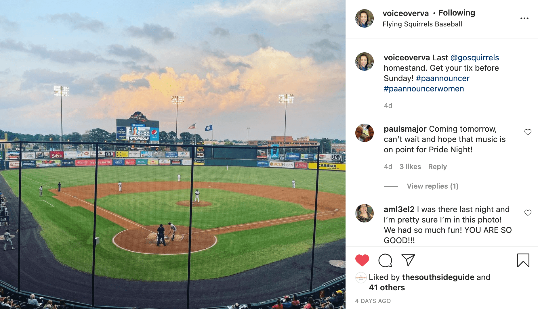 An instagram post of the Diamond, the home of the Richmond Flying Squirrels