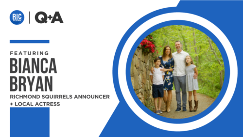 A photo of Bianca Bryan's family with a RICtoday graphic in blue and white