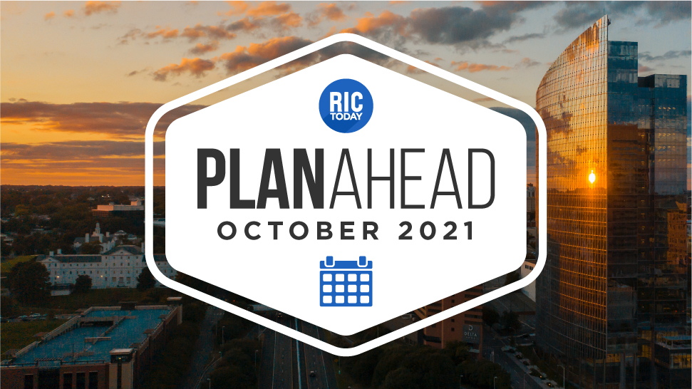 Graphic of Plan Ahead calendar with Richmond skyline in the background