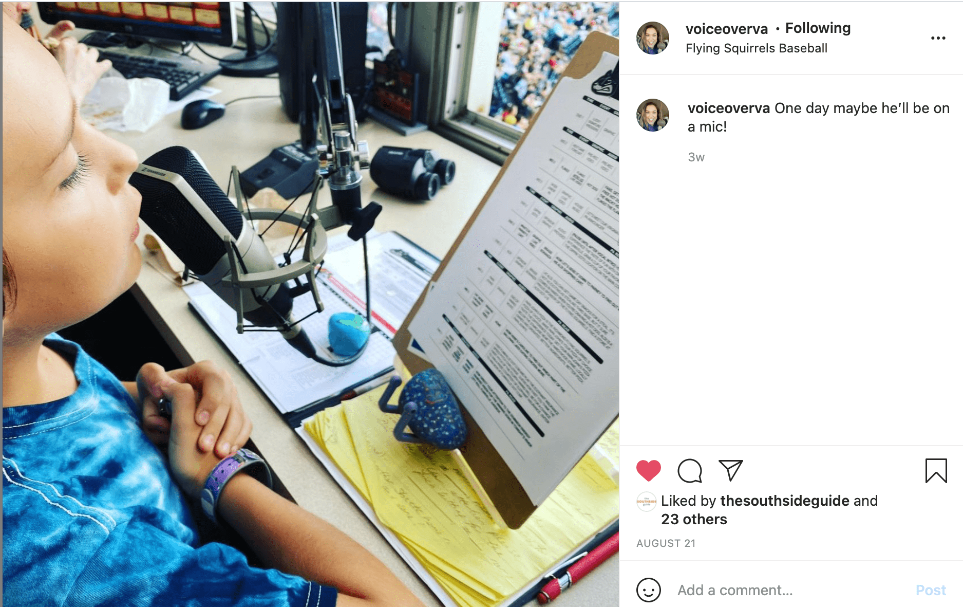 Insta post of Trace, Bianca's son, speaking at the Squirrels game