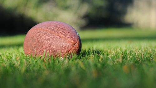 football placed on grass