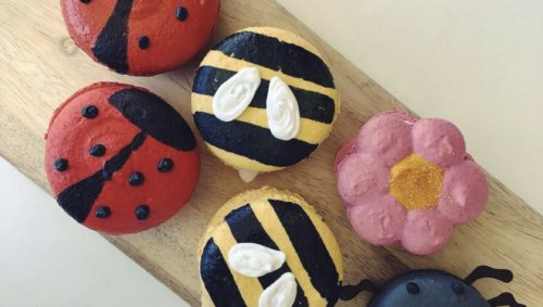 Bug themed macarons on a wooden board.